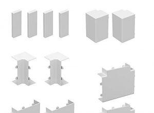Habengut  Zubehör-Set für die Montage des Kabelkanals 30×15 mm, Farbe: Weiß