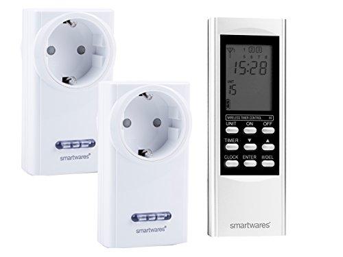SmartHome Digitales Funk Zeitschaltuhr Set = 2 x Funk-Steckdose + Timer-Fernbedienung, für Leuchten und Geräte bis max. 3500W