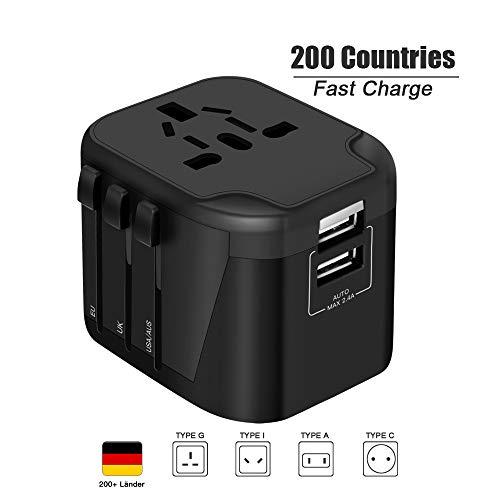 Reiseadapter Reisestecker Weltweit USB Universal Travel Adapter mit 2 USB Ports + AC Stromadapter Aufladung International Steckdosenadapter für USA England UK Deutschland Europa Australian usw
