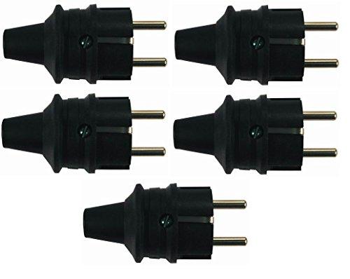 Blass Elektro 31545 Schutzkontakt-Stecker groß schwarz, 5 Stück
