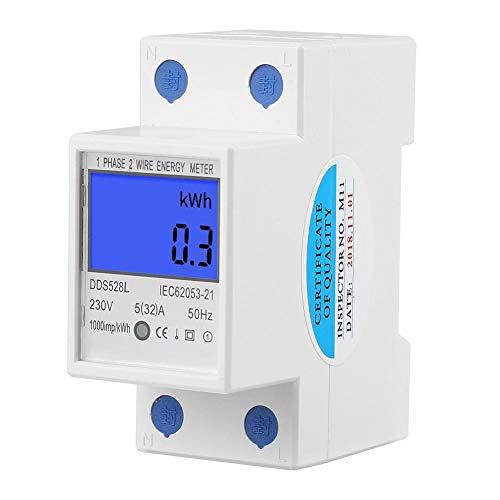 Keenso Energiezähler LCD-Hintergrundbeleuchtungsanzeige Einphasen-Multifunktions-Energiezähler DIN-Schienenmontage 5-32A DDS528L-230V 50Hz