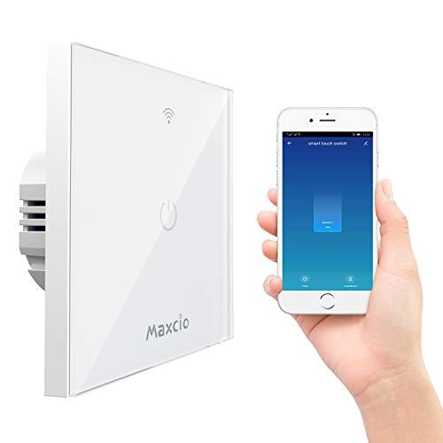 Smart Alexa Lichtschalter, Maxcio Alexa Wlan Lichtschalter 1 Weg, Kompatibel mit Alexa, Google Home, APP Fernbedienung, Timer Funktion und Überlastungsschutz, Nullleiter Erforderlich