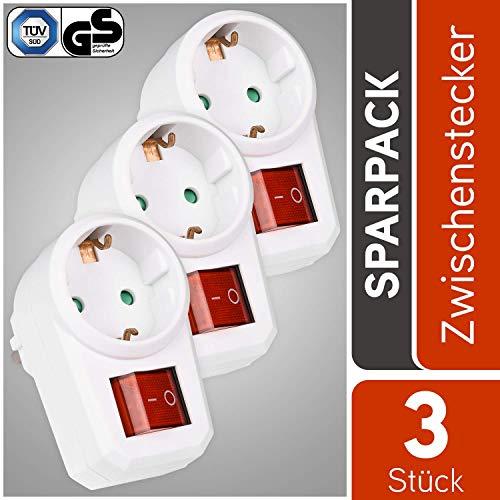 HEITECH 1 fach Steckdosenadapter mit Kindersicherung – GS & TÜV geprüfter Zwischenstecker mit Schalter – 3er Pack Adapterstecker