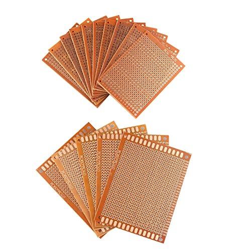 haljia 15Stück Universal PCB-Leiterplatte Steckplatine Prototyp Bakelit Single Side Kupfer mit 5cm x 7cm und 7cm x 9cm Größen für DIY Löten