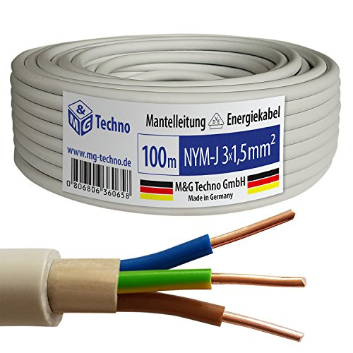 100m NYM-J 3×1,5 mm² Mantelleitung Elektro Strom Kabel OFC MADE IN GERMANY, Model 7344