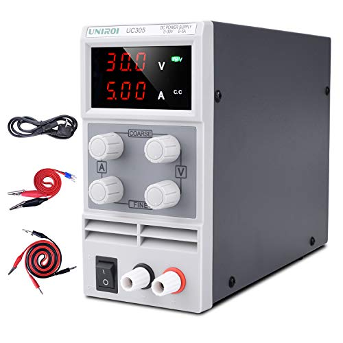 UNIROI Labornetzgerät, 0-30V 0-5A DC Regelbar Netzgerät Stabilisiert Digitalanzeige Labornetzteil Netzteil Strommessgeräte UC305 white