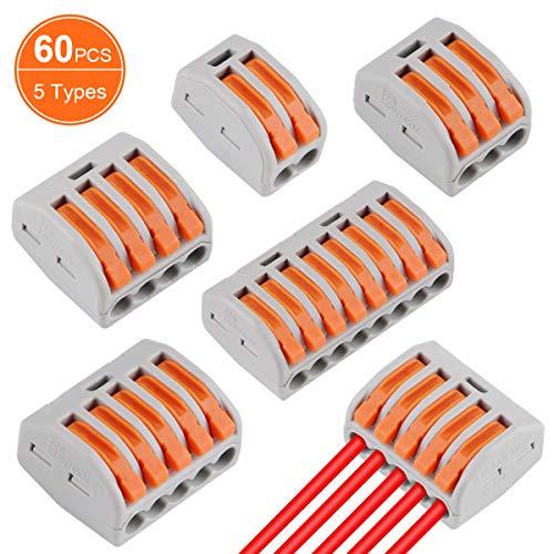 60 Stück Verbindungsklemme Lever Nuts Set, Kompakten Steckklemmen Push Kabelverbinder Sortiment Schnell Klemmenblock Spleißverbinder