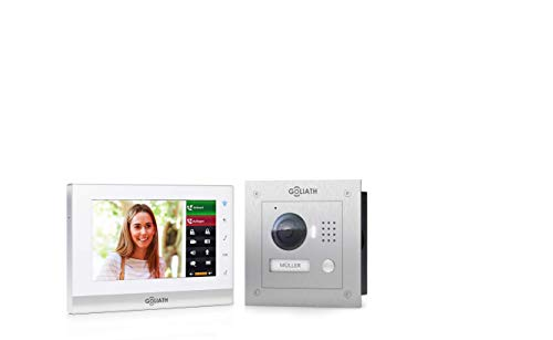 GOLIATH IP 2 Draht Video Türsprechanlage mit 1,3 Megapixel Kamera 150°, 7″ Touchscreen, Smartphone Handy App, Türöffner, Gegensprechanlage, Video-Sprechanlage, Unterputz Außenstation, Einfamilienhaus Set