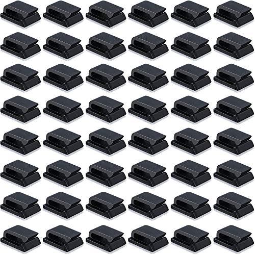 50 Packung Selbstklebende Kabelklemmen Elektrische Kabelklemmen Kabelmanagement Clips für Auto, Büro und Zuhause 13 x 10 mm, Schwarz