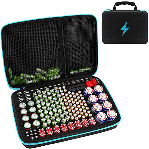 Batterie Aufbewahrungsbox für Batterieorganisator mit Batterietester BT168, Tasche Halter für 152 Batterien AA AAA AAAA 9 V C D Lithium 3 V ohne Batterien Blau
