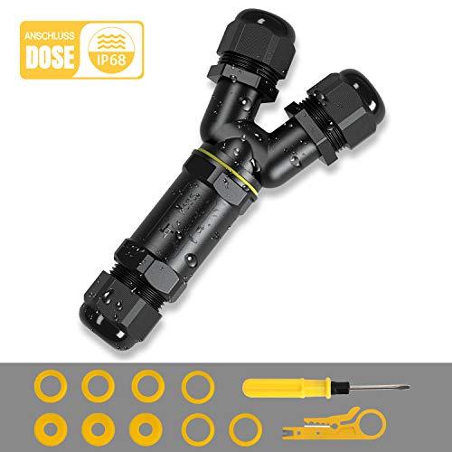 Kohree Kabelverbinder Wasserdicht IP68 Verteilerdose Abzweigdose Klemmdose für Aussen Y-Form 3-Polig für Ø4-14mm Kabeldurchmesser