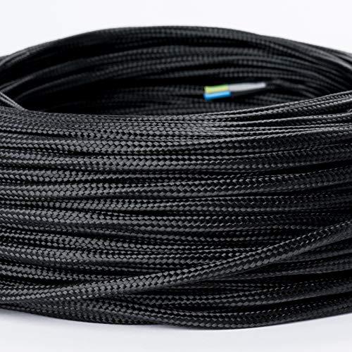 Textilkabel Textilummanteltes Kunststoffleitung Stoffkabel Stromkabel / 3-adrig 3×0,75mm² mit Erdleiter, Lampezubehör 5m, schwarz