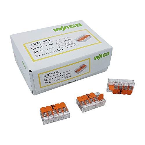 50 Stück Wago 221-415 Verbindungsklemme 5 Leiter mit Betätigungshebel 0,2-4 qmm kleine Bauform, transparent