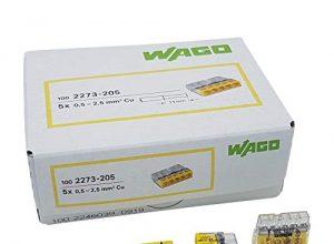 30 Stück Wago 2273-205 COMPACT-Verbindungsdosenklemme Ø 0,5-2,5 mm², 5-polig, transparent/gelb
