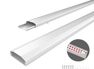 conecto Kabelkanal mit 3M Klebeband selbstklebend selbsthaftend zum Kleben oder Schrauben aus hochwertigem PVC Länge 100cm, Breite 6cm, Höhe 2cm weiß