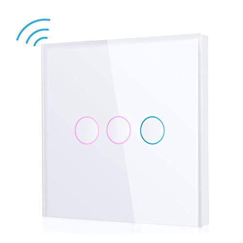 SIMBR Smart Lichtschalter, Alexalichtschalter, Wlan Lichtschalter 3 Gang Touchscreen, kompatibel mit Amazon Alexa & Google Home, Timing Schalter, Smartphone Fernbedienung, Keine Hub erforderlich