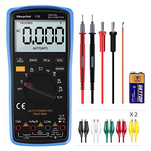 Morpilot Digital Multimeter, True RMS 6000 Counts Advanced Multimeter, messen AC/DC Spannung, AC/DC Strom, Widerstand, Kontinuität, Kapazitanz, Frequenz, Tests Dioden, Temperatur Blau 2