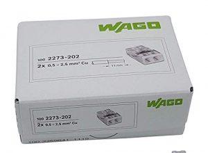 50 Stück Wago 2273-202 COMPACT-Verbindungsdosenklemme Ø 0,5-2,5 mm², 2-polig, transparent/weiß