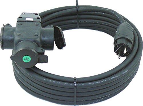 netbote24® Schuko-Verlängerungskabel mit 3-Fach Kupplung H07RN-F 3×2,5 mm² IP44 – Außenbereich AC 230V/16A 5-50m 5m