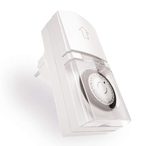 Komfort in Haus und Garten – einfache Bedienung, drehen und fertig – Weiß – Zeitschaltuhr Aussenbereich mechanisch 1 Stück – Analoge Outdoor Zeitschaltuhr erfüllt ihren Zweck zuverlässig