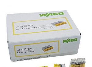 100 Stück Wago 2273-205 COMPACT-Verbindungsdosenklemme Ø 0,5-2,5 mm², 5-polig, transparent/gelb