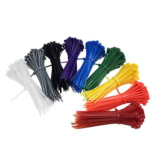 Kabelbinder Set Bunt Klein Mehrzweckbinder Nylon Kabelbinder Sortiment Set Farbig Kabelbinder für Kabelmanagement Haus, Garten, Büro, Innen, Außen, 900 Stück, 100 mm x 3 mm