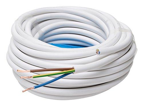 Kopp Schlauch-Leitung 3 adrig, H05 VV-F 3G1.5 mm² 25m für flexible Verlegung, 300V/500V, Strom-Kabel für mittlere Beanspruchung, weiß, 151825002