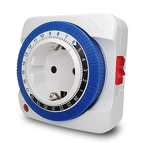 KKmoon Mechanische Zeitschaltuhr 24 Stunden Analog Timer, Steckdosen Schaltuhr | Zeitprogrammstecker 3680 W