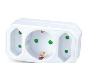 Steckdosen-Adapter mit Kindersicherung – Doppelstecker 3500W – 3Fach Multistecker – benon Mehrfachstecker weiß – 2X Euro- und 1x Schuko-Stecker