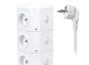 Powerjc Multiprise Parasurtengleiter Parafoudre,Tour Multiprise 6 Ports Smart USB High Speed und 6 Ladebuchsen,Schaltersteuerung,Schaltseil Robust 6,6 pi Powerjc