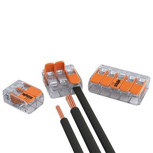 50er Set Wago Verbindungsklemmen 20x 2 Leiter 20x 3 Leiter 10x 5 Leiter mit Betätigungshebel 0,2-4 qmm kleine Bauform, transparent