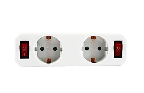 Steckdosenadapter Schutzkontaktsteckdose mit Schalter, Zwischenstecker mit Kindersicherung weiß