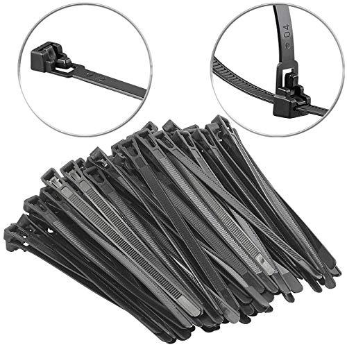 AGT Mehrweg Kabelbinder: 100er-Set wiederverschließbare Kabelbinder, schwarz, 150 x 7,6 mm Kabelbinder-Sortiment