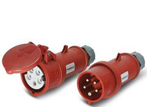CEE Stecker & Kupplung Set 400V/16A 5p IP44 mit Phasenwender – Mennekes