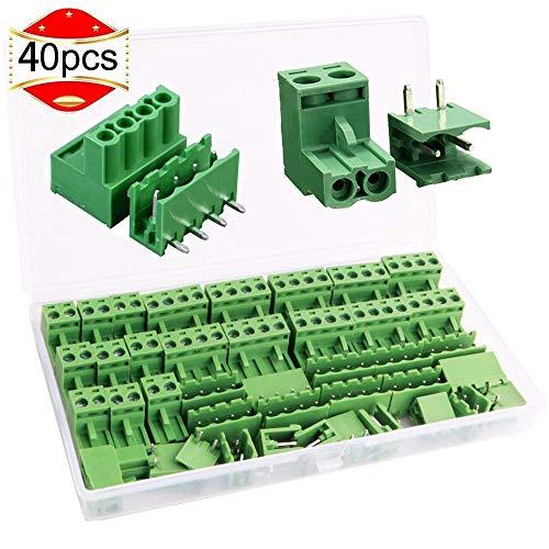 RUNCCI 10 Paare 5.08mm Gerade 4-polig PCB Schraubklemme Anschluss Steckbare Typ+5,08 mm Pitch 2 Pins Plug-in Schraube PCB Terminal Block Stecker rechts Winkel10 Paare