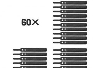 Wiederverwendbare Kabelbinder mit Klett, Sweguard Klettkabelbinder Kabelklett Seilklett mit Klettverschluss, 13.5CM Schnurbinder Gurt Klettbänder für Kabel und Kabelmanagement 60xBlack