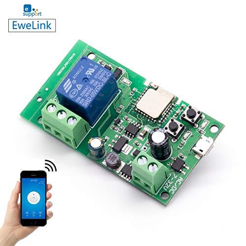 EACHEN Smart Wifi Schalter Relais Inching/selbstverriegelung Schaltermodul DIY Smart Home Garagentor Fernbedienung DC 5-32V AC90-260V Ewelink-App Kompatibel mit Alexa Google Zuhause Nest IFTTT DC1