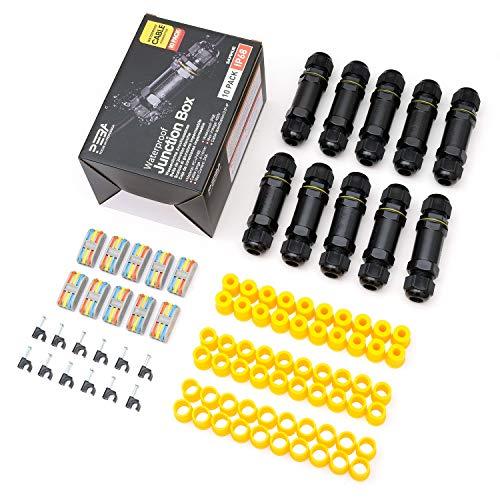 Kabelverbinder Wasserdicht IP68 Verbindungsbox Verbindungsmuffe Kabelverbinder mit 3-polig für Ø4-14mm Kabeldurchmesser 10er-Pack schwarz