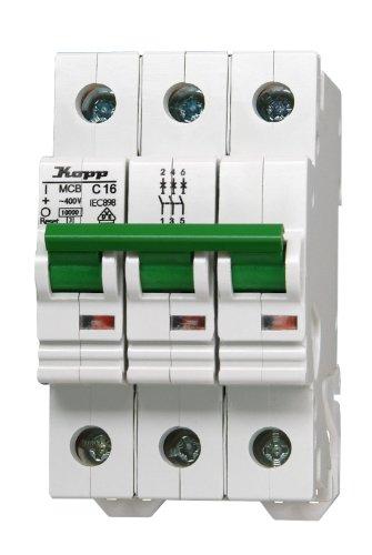 Kopp 721631075 Leitungsschutzschalter 3-polig C-Charakteristik, 16 A