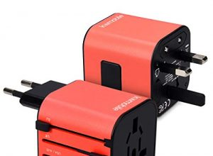 Stromadapter Stecker für Europa UK Australien USA – kwmobile Universal Reiseadapter für 150 Länder – Universeller Weltreise Reisestecker – Rot