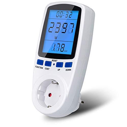 Energiekostenmessgerät,UNEEDE Hintergrundbeleuchtung Stromzähler Stromkostenmessgerät Leistungsmessgerät Elektrizitäts-Analysator mit LCD Bildschirm und Überlastsicherung