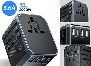 Reiseadapter, UNEEDE Universal Travel Adapter Weltweit USB Reisestecker Adapter mit 4 USB Ports Type C für USA Europe UK Australia