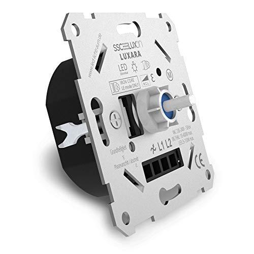 SSC-LUXon LUXARA Universal Drehdimmer Unterputz Dimmschalter für dimmbare LEDs 3-150W – Unterputzdosen Dimmer inklusive Adapter