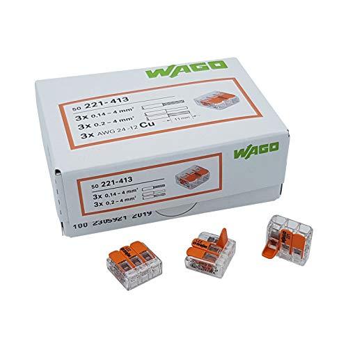 WAGO Steckklemme 3-Fach mit Hebel für starre 0,2-4 mm² und flexible 0,14-4 mm² Drähte zum wieder öffnen transparent/orange Inhalt 50 Stück