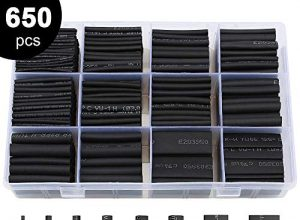 Schrumpfschlauch 650 Stück schwarz 8 Größen 2:1 Liberway Thermo Schrumpfschlauch Schrumpfschlauch Set schwarz