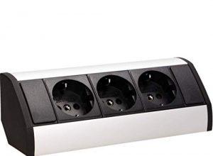 ORNO GM-9001 Ecksteckdose 3 Fach mit Kindersicherung, 45° Aufbau-Montage, 3680W, Farbe: Schwarz +Silber ,für Küche, Büro und Arbeitsplatte