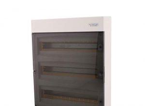 Sicherungskasten Aufputz 3-reihig für 54 Module mit DIN Schiene AP-Verteiler IP40 transparenter Tür für die Trockenraum Installation im Eigenheim
