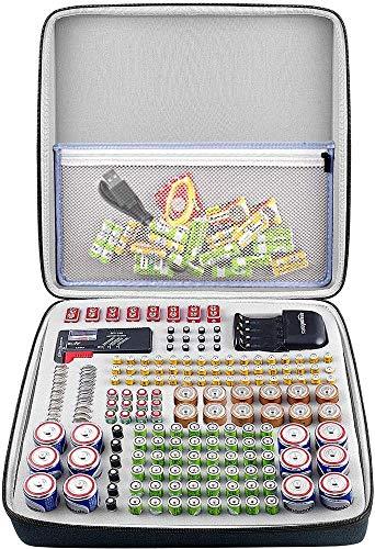 Batterie Aufbewahrungsbox für Batterieorganisator mit Batterietester BT168, Tasche Halter für 184 Batterien AA AAA AAAA 9 V 6 V C D Lithium 3 V A23 NI-MH-Ladegerät ohne Batterien und Ladegerät