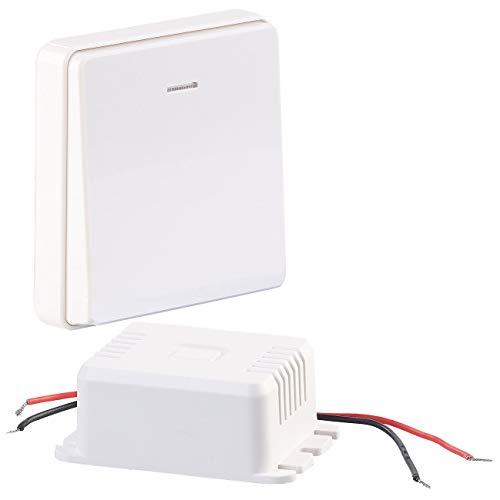 CASAcontrol Funkschalter: Einbau-Funk-Schaltmodul & kinetischer Funk-Taster groß, bis 200 Watt Funkschalter Set