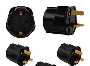 Incutex 3X Reisestecker UK GB England Travel Adapter EU Schuko 2-Pin auf UK 3-Pin Reise Steckdosenadapter Typ G, schwarz